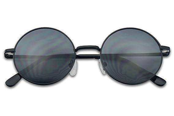 ea08661a046 Small 45mm Round 60s John Lennon Circle Metal Frame Sunglasses (Black