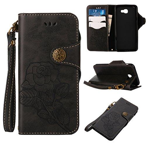MEIRISHUN Leather Wallet Case Cover Carcasa Funda con Ranura de Tarjeta Cierre Magnético y función de soporte para Samsung Galaxy J5 Prime - Azul Negro