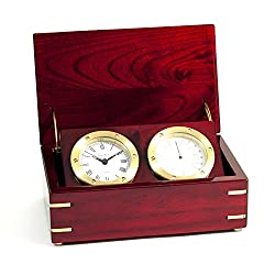 Time Factory AJ-SQB580T Quartz Clock and Thermometer in Lacquered Rosewood Hinged Box with Brass Accents