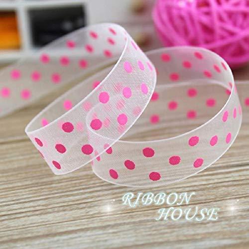((10 Yards/lot) Pink Printed Organza Colored dots Ribbon Gift wrap Decoration Ribbons (25mm))