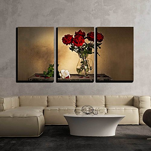Red Rose Framed (wall26 - 3 Piece Canvas Wall Art - Beautiful Still Life with Jug and White and Red Roses - Modern Home Decor Stretched and Framed Ready to Hang - 24