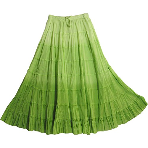 Hippie Green (Yoga Trendz Missy Plus Bohemian Gauze Cotton Tiered Crinkled Broomstick Long Skirt Ombre (Green))