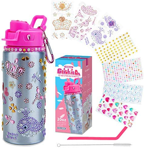 Decorate Your Own Water Bottle for Girls with Lots of Glitter Gem Stickers – BPA Free, Fun DIY Arts and Crafts Activity ,Surprise Fun Gifts ,with a reusable Eco-Friendly Straw and Nail Stickers