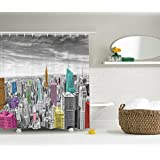 Ambesonne Bath Decorations Collection, NYC New York City Skyline Panoramic Picture, Fabric Bathroom Shower Curtain, Gray Pink Yellow Blue Black and White