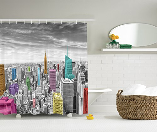 Amazon Cityscape Decor Shower Curtain By Ambesonne NYC New York City Skyline Panoramic Picture Polyester Fabric Bathroom Set With Hooks