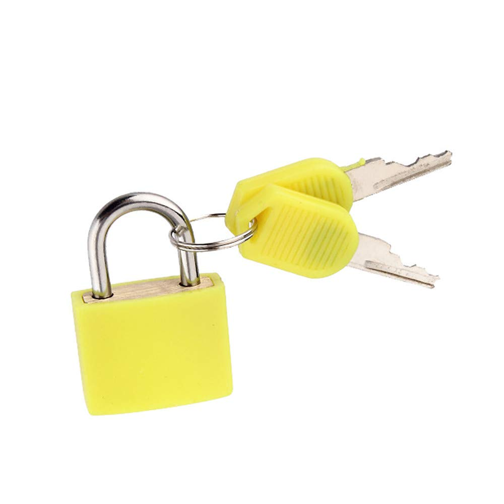 Connia Small Mini Strong Steel Padlock Travel Suitcase Diary Lock With 2 Keys for Travel (Yellow)