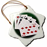 3dRose Alexis Photo-Art - Poker Hands - Poker Hands Two Pairs Jack, Four - 3 inch Snowflake Porcelain Ornament (orn_270529_1)