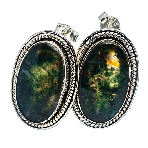 Green Moss Agate Earrings 1