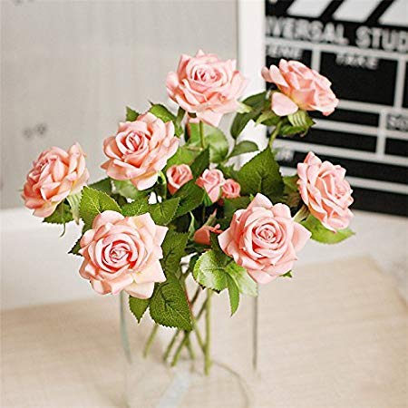 Silk Flowers - 20pcs Set Rose Artifical Flowers Holding Silk Floral Latex Real Touch Wedding Bouquet Home Party - Gerber Lillies Vintage Real Depot Dancing Peach Giant Wholesale Pink