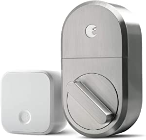 August Smart Lock + Connect Wi-Fi Bridge, Satin Nickel, Works with Alexa. Keyless Home Entry from Anywhere