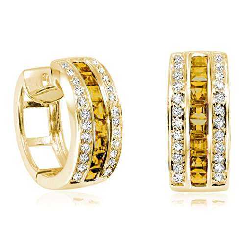 Citrine And Earrings Diamond (14K Gold Diamond and Citrine Huggy Earrings 15MM (0.25TDW, G-H Color, I1 Clarity) (yellow-gold))