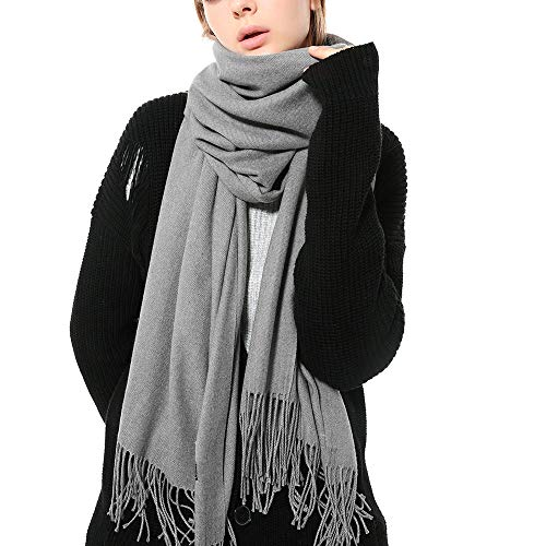 Womens Thick Soft Cashmere Wool Pashmina Shawl Wrap Scarf - Aone Warm Stole(Light Gray)