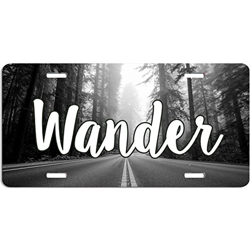 Wander Open Road Explore Travel Wanderlust Trees Forest Woods License Plate, Wander Car Tag, Vanity Plate, Auto Tag, Fantasy Decor. by zaeshe3536658