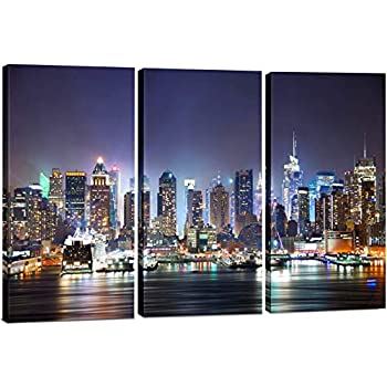 New York City Wall Art, 3 Panel Modern NYC Skyline Print Photograph, Hanging Decorative Canvas Painting Artwork for Bedroom, Kitchen, Office, Living Room, Home Decor Gift, 24