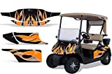 1996-2010 EZGO Golf Cart AMRRACING ATV Graphics Decal Kit-Tribal Flame-Orange-Black