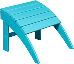 ET Ehomexpert Outdoor Adirondack Ottoman, Fit with Your Outdoor Adirondack Chairs, Weather Resistant- HDPE Hard Plastic, Blue