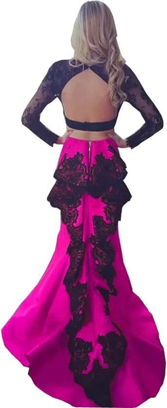 LastBridal Women Lace Long Sleeves Open Back Two Piece
