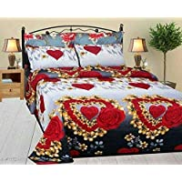 ZEFF Furnishing Glace Cotton Double Bedsheet with 2 Pillow Cover, Size- 90 X 90 Inch, 144TC, 3D Printed Pattern, Multicolor (Multi, Standard)