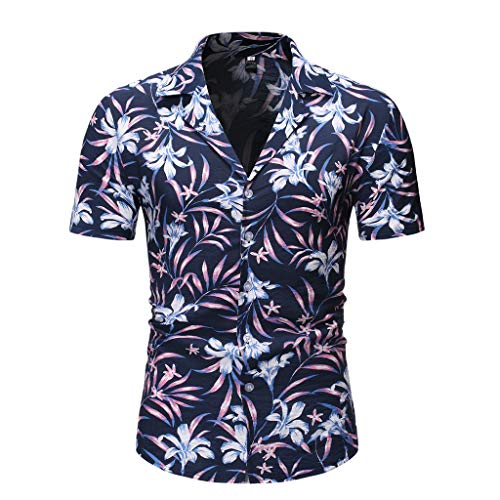 Beautyfine Hawaiian Beach T-Shirt Men Casual Summer Printed Button Short Sleeve Top Blouse ()