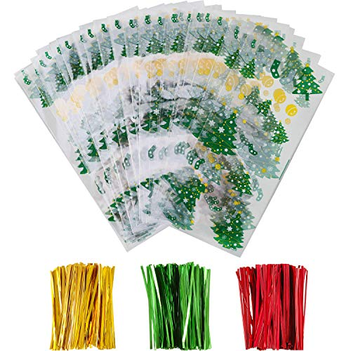 Boao 100 Pieces Christmas Cellophane Bags Christmas Tree Patterns Treat Bags Christmas Clear Goodies Bags with 150 Pieces Twist Ties for Christmas Party Supplies