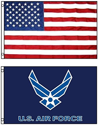 3'x5' US AMERICAN Nylon & US AIR FORCE Blue Wings Polyester