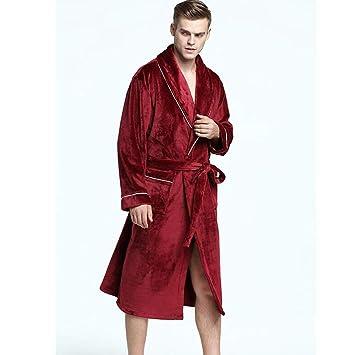 Franela Albornoz Ropa De Dormir Invierno Hombres Alargar Engrosamiento Casual Cálido Bata De Kimono Ropa De Casa,XXXL: Amazon.es: Hogar