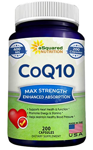 (CoQ10 (400mg Max Strength, 200 Capsules) - High Absorption Vegan Coenzyme Q10 Ubiquinone Supplement Pills, Extra Antioxidant CO Q-10 Enzyme Vitamin Tablets, Coq 10 for Healthy Blood Pressure & Heart)