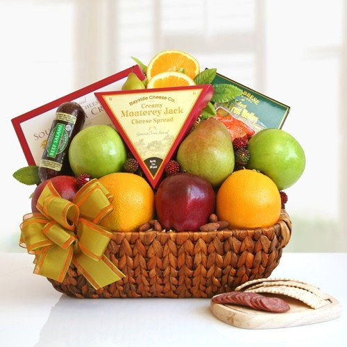 Fruit Gift Basket with Meat Cheese and Nuts
