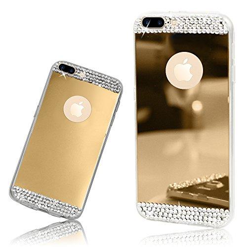 Xtra-Funky Reihe iPhone 7 / 8 PLUS de silicona TPU delgada caja del espejo brillante con diamantes de imitación de diamante de cristal brillante - Plata Oro