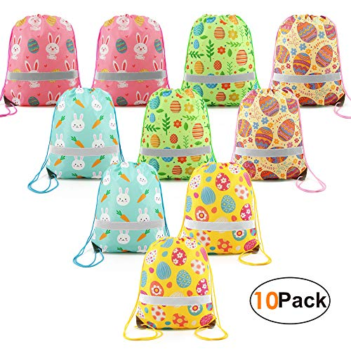 Easter Day-Gift-Bags-Drawstring-Backpacks Bag Easter Party Supplies Favors Bags Gifts for Girls Boys 10 Pack ()