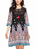ELESOL Women's 3/4 Sleeve Ethnic Style Bohemian Printed Mini Floral Tunic Dress Dark Blue S