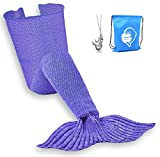 LAGHCAT Mermaid Tail Blanket Crochet Mermaid Blanket for Adult, Soft All Seasons Sleeping Blankets, Classic Pattern (71''x35.5'', Purple)