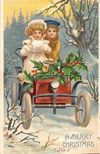 Merry Christmas Children Snow Scene Early Auto Holly Antique Postcard K54903
