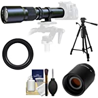 Samyang 500mm f/8.0 Telephoto Lens with 2x Teleconverter (=1000mm) + 58 Tripod Kit for Sony Alpha DSLR SLT-A35, A37, A55, A57, A65, A77 Digital SLR Cameras