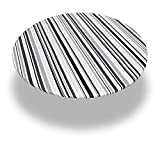 """Carnation Home Fashions Dfln-F48RD/BS31 Bohemian Stripe Round Fitted Vinyl Tablecloth, 48"""", Black"""