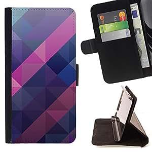 - polygon purple blue pink pattern 3d - - Prima caja de la PU billetera de cuero con ranuras para tarjetas, efectivo desmontable correa para l Funny HouseFOR Samsung Galaxy S6 EDGE