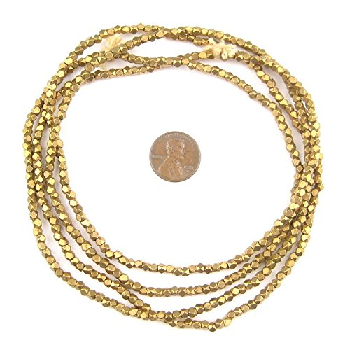 (Cornerless Cube Beads - Full Strand of Faceted Ethnic Metal Spacers - The Bead Chest (3mm, Antiqued Brass))