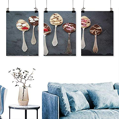 SCOCICI1588 Three Consecutive Painting Frameless Vintage Silver Spoons White Chocolate to Hang for Living Room No Frame 12 INCH X 12 INCH X 3PCS