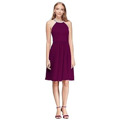 a78291b5b2d Short Chiffon Bridesmaid Dress with Beaded Illusion Neckline Style W11082