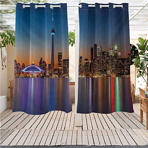 DONEECKL Landscape Outdoor Waterproof Curtain Urban Theme A Cityscape View of Toronto and The Skyscrapers at Dusk Digital Print Front Porch W72 x L84 inch Dark Blue (High End Furniture Toronto Outdoor)