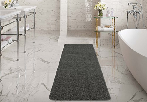Bath Runner (Ottomanson Luxury Collection Solid Runner Rug with Non-Slip/Rubber-Backing Bath Rug, 20