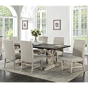Cambridge Ellington 6 Fabric Chairs 7-Piece Dining Set with Expandable Trestle Table, Weathered white