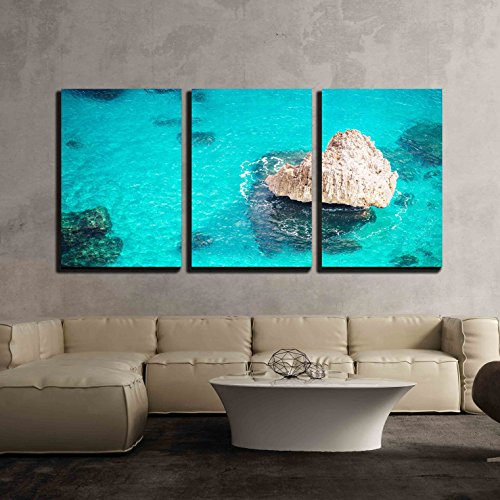 "wall26 - 3 Piece Canvas Wall Art - Dreamy Crystal Clear Blue Sea with a Rock - Modern Home Decor Stretched and Framed Ready to Hang - 24""x36""x3 Panels"
