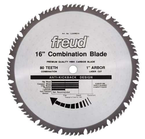 Freud LU84M016 16-Inch 80 Tooth ATBF Combination Saw Blade with 1-Inch Arbor