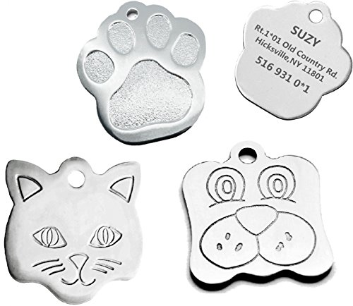 Sundesign Paw Print Stainless Steel Pet ID Tags - Dog and Cat ID Tags. (1.1')