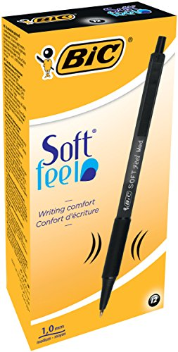 BIC Soft Feel Retractable Ballpoint Pen, Medium Point, Black, 12-Count