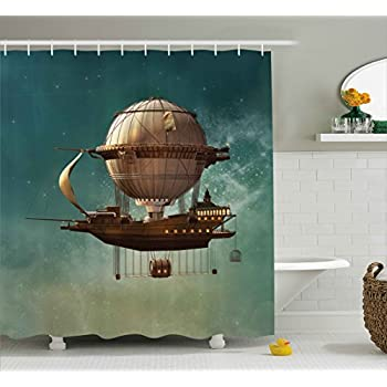 Fantasy Decor Shower Curtain By Ambesonne, Surreal Sky Scenery With  Steampunk Airship Fairy Sci Fi