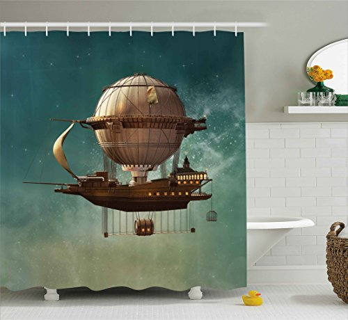 Sky Scenery with Steampunk Airship Shower Curtain