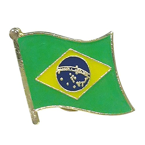Backwoods Barnaby Brazilian National Flag Lapel Pin/Bandeira Brasileira Broach for suit jackets, clothes, and soccer gear (Brazil Pin, 0.75