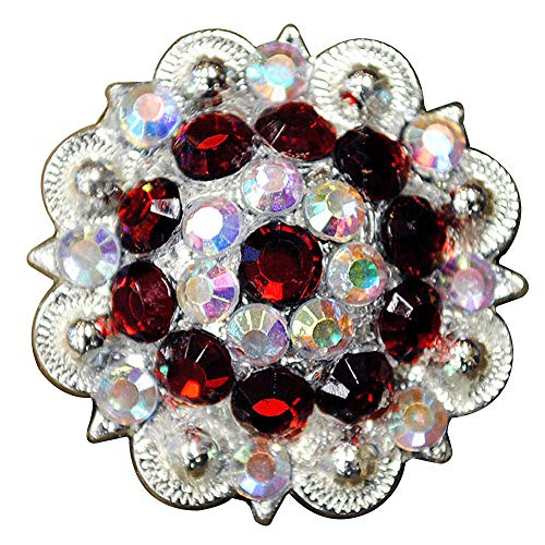 Set of 4 RED AB Crystal 1-1/4in Berry Concho Rhinestone Saddle TACK Cowgirl